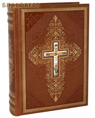 Библия. Кожаный переплет. Финифть. Золотой обрез