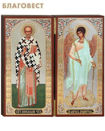 Складень двойной ростовой Святитель Николай Чудотворец - Ангел Хранитель
