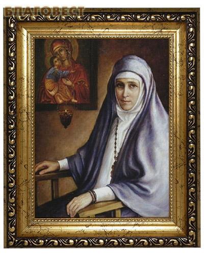Великомученица Елизавета Федоровна. Репродукция на  холсте. Размер полотна 14,5*19,5 см (  -  )