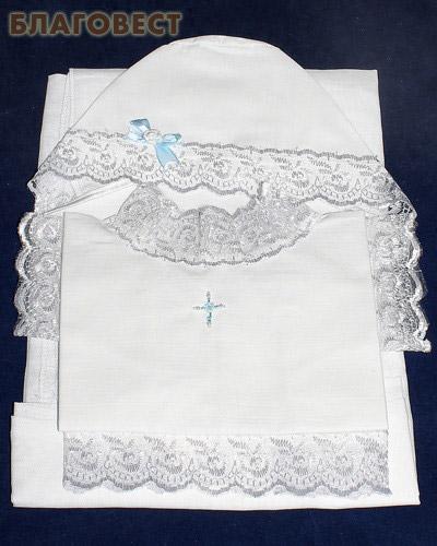 Крестильный набор для мальчика от 0 до 6 месяцев (рубашка, чепчик, пеленка). 100% хлопок (  -  )