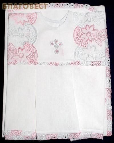 Крестильный набор (платье, пеленка-уголок). Возраст 0-6 месяцев. Ткань х\б, шитье (  -  )