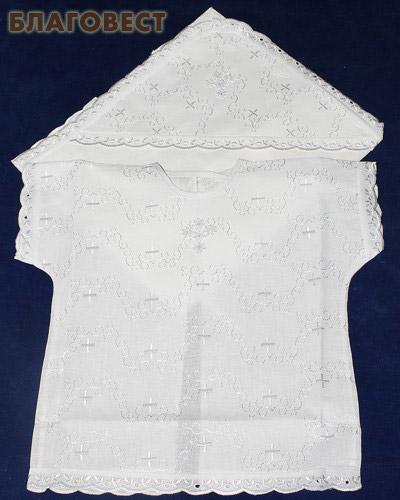 Крестильный набор «Крестик» (рубашка, пеленка-уголок). Возраст 0-6 месяцев. Ткань вышитая х/б (  -  )