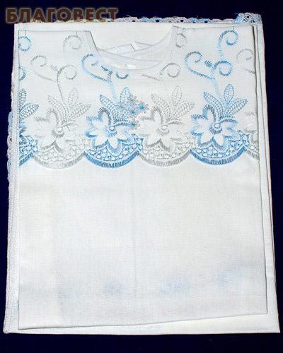 Крестильный набор (рубашка, пеленка-уголок). Возраст 0-6 месяцев. Ткань вышитая х\б (  -  )