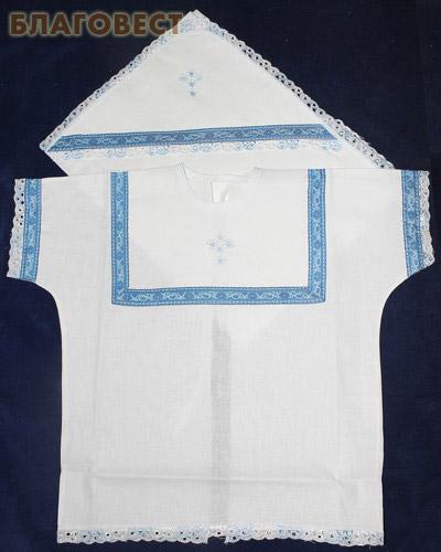 Крестильный набор «Богатырь» (рубашка, пеленка-уголок). Возраст 0-6 месяцев. Ткань х\б, тесьма, парча (  -  )