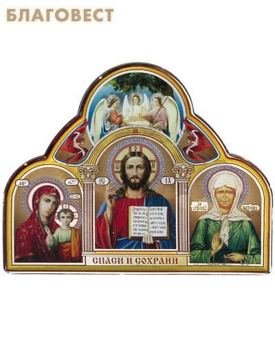 Икона Триптих на клеящейся основе с полимерным покрытием (большой) (  -  )