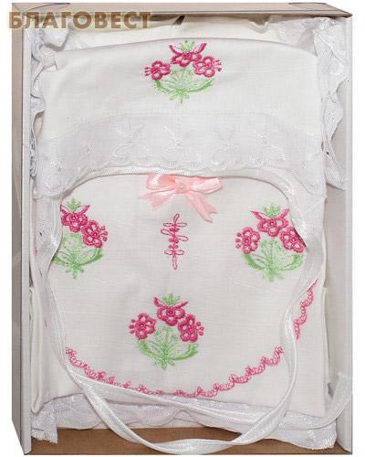 Крестильный набор для девочки от 0 до 6 месяцев (распашонка, пеленка, чепчик). 100% хлопок (  -  )