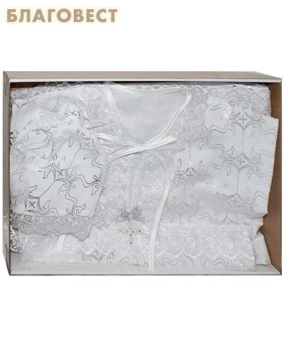 Крестильный набор для девочки от 6 до 12 месяцев (платьице, пеленка, косынка). 100% хлопок (  -  )