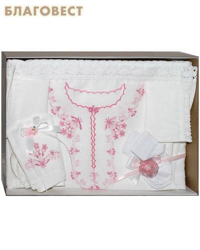 Крестильный набор для девочки от 6 до 12 месяцев (платьице, пеленка, чепчик, полотенце). 100% хлопок (  -  )