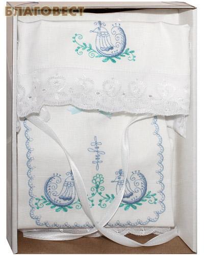 Крестильный набор для мальчика от 0 до 6 месяцев (распашонка, пеленка, чепчик). 100% хлопок (  -  )