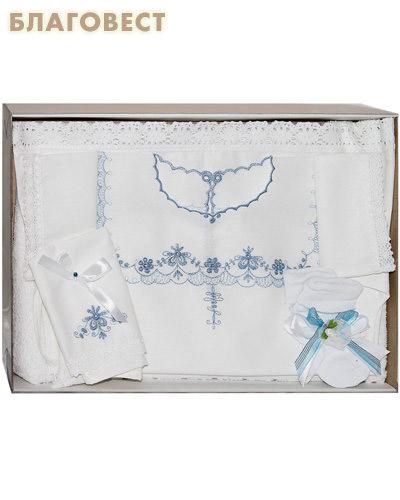 Крестильный набор для мальчика от 6 до 12 месяцев (рубашка, пеленка, чепчик, полотенце). 100% хлопок (  -  )