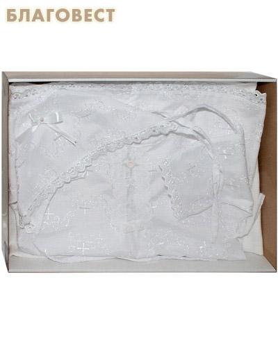 Крестильный набор от 6 до 12 месяцев (распашонка, пеленка, чепчик). 100% хлопок (  -  )