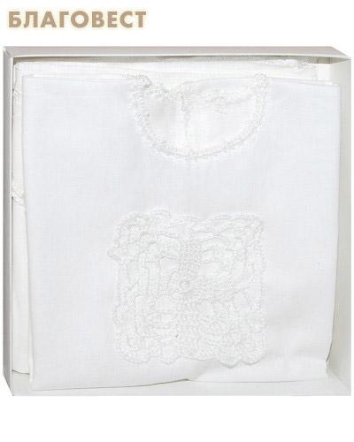 Крестильный набор «Добрыня» (рубашка, пеленка). Возраст 0-6 месяцев. Ткань х\б, ручная вязка (  -  )