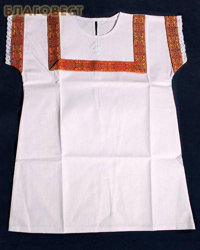 Крестильная рубашка «Богатырь». Возраст 2-3 года.  Ткань х/б, тесьма, парча. В ассортименте (  -  )