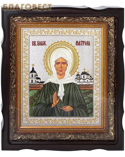 Икона Святая блаженная Матрона Московская. Вышитая икона в фигурном киоте. Размер изображения 180*220мм