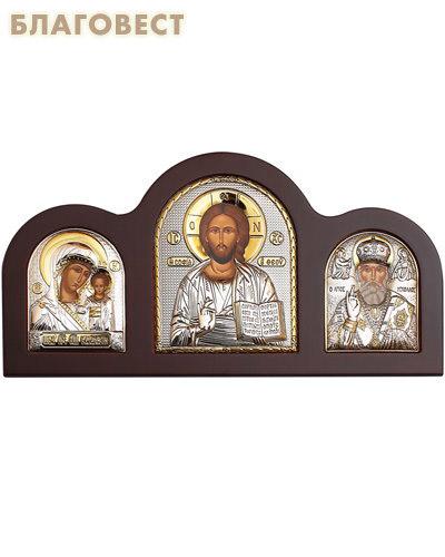 Икона Триптих. На подставке, дерево, серебрение