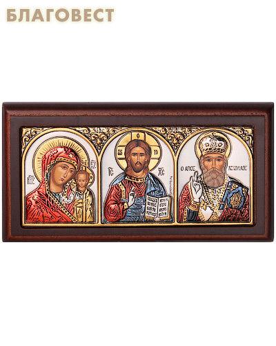 Икона Триптих. На подставке, дерево, серебрение. Размер 92*50 мм