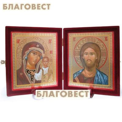 Складень бархатный (венчальная пара). Размер икон 12,6*15,3 см