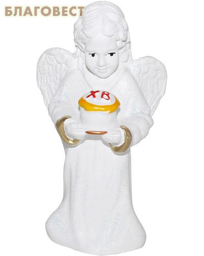 Ангел с куличом (с блестками, гипс)