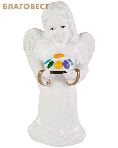 Ангел с пасхой (с блестками, гипс)
