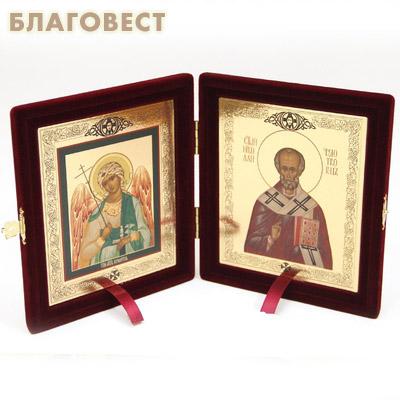 Складень Ангел Хранитель - Свят. Николай Чудотворец. Размер иконы 12,5*15см