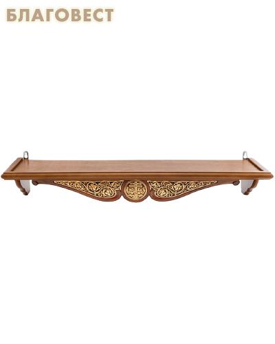 Полка одноярусная прямая для икон с басмой, удлиненная