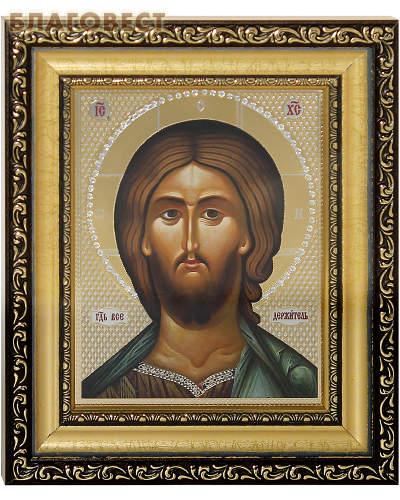 Икона Господь Вседержитель. Киот (узкий), багет, стразы, стекло