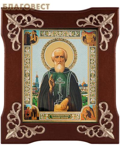 Икона Св. прп. Сергий Радонежский, в деревянной рамке