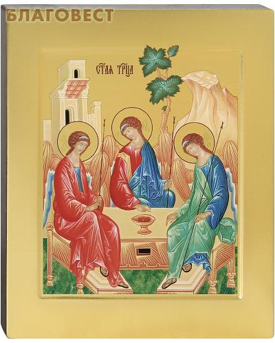 Икона аналойная Святая Троица. Дерево, ручное золочение (поталь), с ковчегом