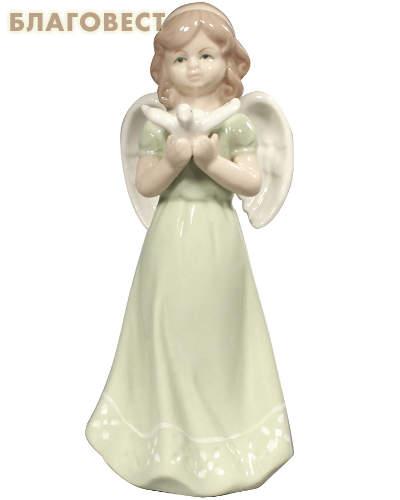 Ангел с голубем большой керамический в глазури (зеленый)