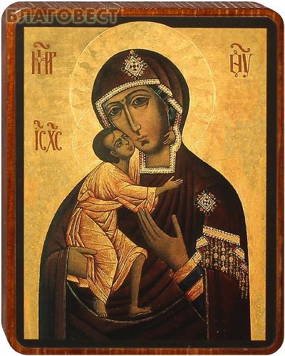 Икона Божией Матери Феодоровская на деревянной основе
