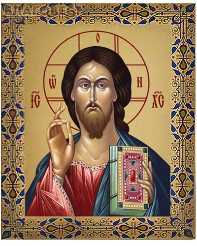 Икона аналойная малая Господь Вседержитель. Дерево, ручное золочение (поталь)