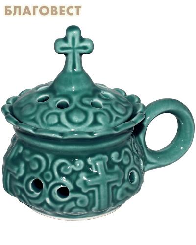 Кадильница настольная керамическая зеленая