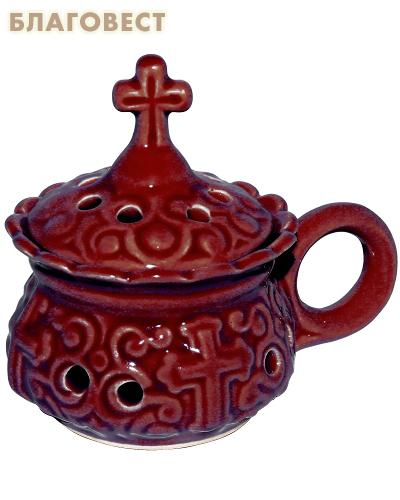 Кадильница настольная керамическая красная
