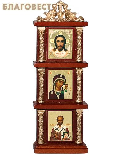Иконостас тройной с иконами вертикальный. Высота 18,5 см