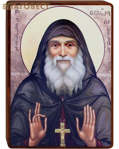 Икона Преподобноисповедник Гавриил (Ургебадзе) на деревянной основе