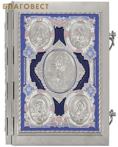 Евангелие требное среднее в металлическом окладе с росписью эмалью. Церковно-славянский шрифт