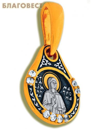 Икона двухсторонняя Святая блаженная Матрона Московская, серебро с чернью, позолотой, вставка из 8 бесцветных фианитов (капелька, малая)