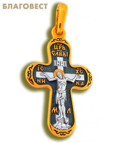 Крест двухсторонний Спаситель- Пресвятая Богородица Покрова, серебро с чернью и позолотой 5 мкр. Au 999 (малый)