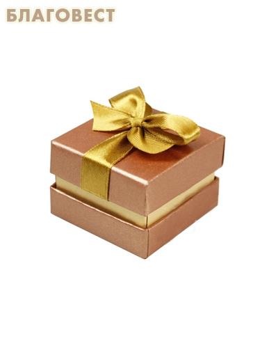 Футляр подарочный квадратный с бантом. Цвет медный перламутр, картон
