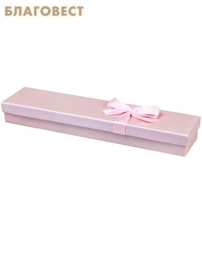 Футляр подарочный прямоугольный с бантом. Цвет розовый перламутр, картон