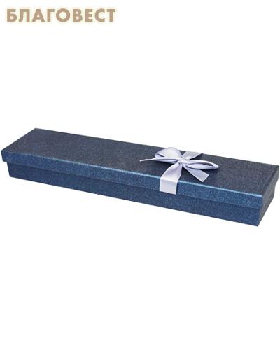 Футляр подарочный прямоугольный с бантом. Цвет сапфировый перламутр, картон