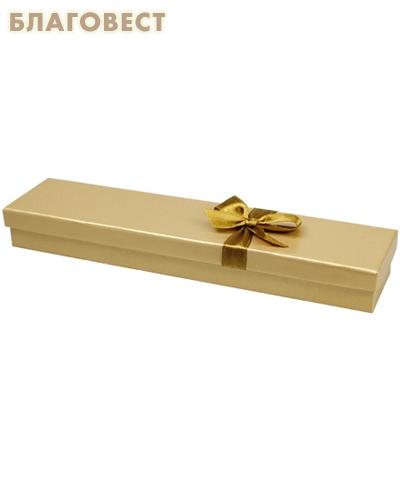 Футляр подарочный прямоугольный с бантом. Цвет золотистый перламутр, картон