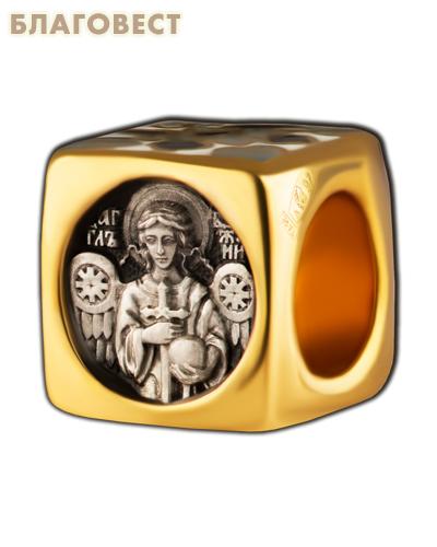 Бусина Ангел Хранитель, серебро с чернью, позолотой 5 мкр. Au 999, эмаль