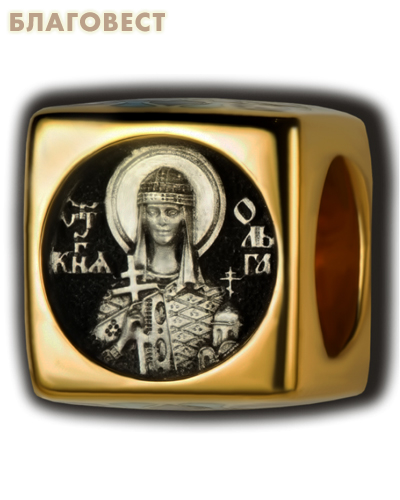 Бусина Равноапостольная княгиня Ольга, серебро с чернью, позолотой 5 мкр. Au 999, эмаль