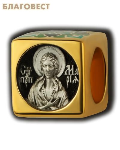 Бусина Преподобная Мария Египетская, серебро с чернью, позолотой 5 мкр. Au 999, эмаль