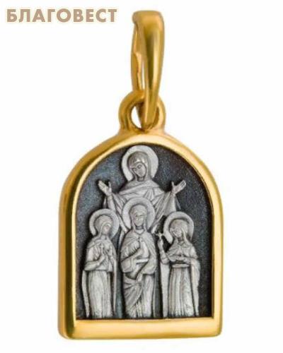 Икона Святые мученицы Вера, Надежда, Любовь и мать их София (серебро 925 пробы, позолота 999 пробы)