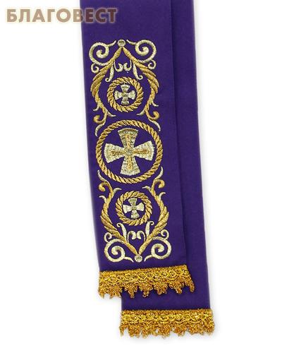 Закладка для Евангелия. Фиолетовый полиэстер с золотой вышивкой. Разм. изделия 10см х 130см