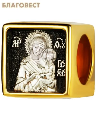 Бусина Пресвятая Богородица Тихвинская, серебро с чернью, позолотой 5 мкр. Au 999, эмаль