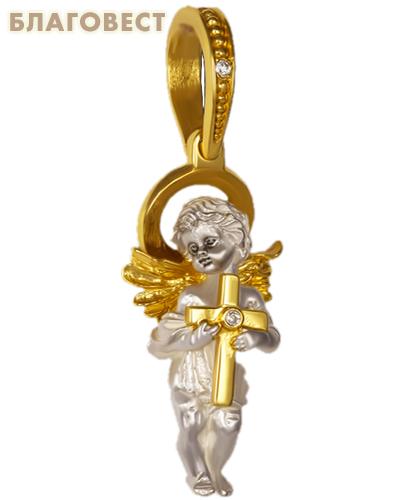 Подвеска Ангел Хранитель, серебро с позолотой, вставка из 2 фианитов