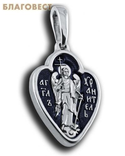 Икона двухсторонняя Ангел Хранитель, серебро с чернью